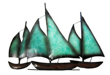 "Contemporary Metal Wall Art Decor Sculpture -3 Sailing Boats At Sea 17"" long new"