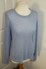 Ladies Blue Shimmery Long Sleeve Knit Jumper Size Large