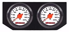 Air Ride Suspension Dual Needle White Air Gauges Double Panel Display No Switch