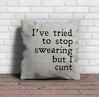 """"""" I tried to stop swearing but I c*** """" Funny Rude Explicit Slogan Cushion Cover"""