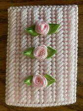 Handmade Needlepoint Plastic Canvas Gift Card Holder - Pink Roses