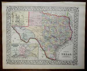 Texas County Map Galveston Bay Austin Houston Dallas 1867 Mitchell map