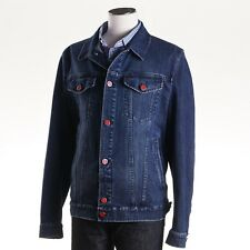 NWT $2890 KITON NAPOLI Darker Blue Sanded Denim Jean Jacket Slim M (Eu 50)