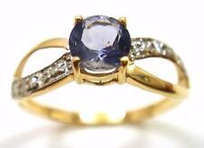 NEW 10KT YELLOW GOLD ROUND IOLITE & DIAMOND RING  SIZE 7   R855