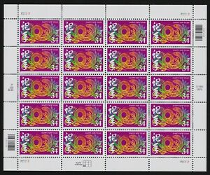 #3500, Chinese New Year 34c Year of the Snake Pane/20, Mint Never Hinged XF