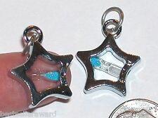 1 Fairy Sand Hourglass STAR Tube Glass Blue little Bottle pendant charm *