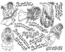 Unmounted Rubber Stamp Sheets, Floral Angels, Angel Stamps, Angel Sayings, Roses