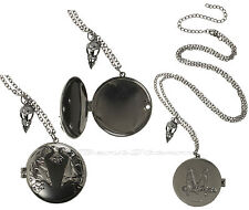 "NEW 2014 Disney Maleficent  2"" ENGRAVED Locket Pendant Necklace Magnetic Closure"