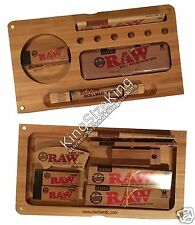 RAW Wooden Bamboo Backflip Rolling Tray + Raw Kingsize Papers + Tips + Raw Tin
