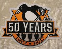 "Pittsburgh Penguins 50th Anniversary 4.5"" Iron On Embroidered Patch"