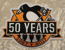 "Pittsburgh Penguins NHL 50th Anniversary Logo 4.5"" Iron On Embroidered Patch"