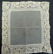 Vintage/Antique Ecru POINT DE GAZE Tambour Net Lace Flower Handkerchief/Hankie