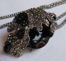 N18 # NEW Betsey Johnson Free shipping big black crystal skull crystal necklace