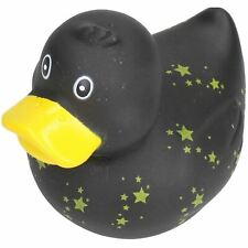 Black Star Rubber Vinyl Squeaky Duck Dog Toy With Internal Squeak 8x10cm