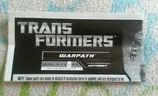 Transformers GENERATIONS WARPATH INSTRUCTION BOOKLET ONLY AUTHENTIC