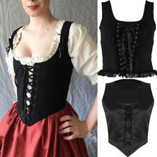 Women Vintage Medieval Corset Top Waistcoat Sleeveless Top Lace Up Vest Tank Top