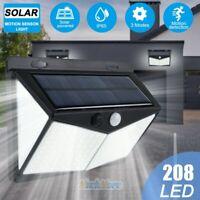 Upgrade 100/208 LED Yard Solar Wall Light PIR Motion Sensor Outdoor Garden Lamp