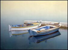 Boat paintings FISHERMAN IN A CALM Coastal art beach house living rooms seascape