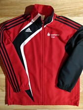 Adidas Vintage Mens Tracksuit Top Jacket Black Red Sparkasse Trier