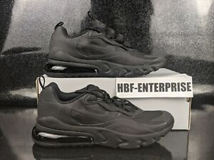 Nike Air Max 270 React Triple Black Running Shoes Size 7Y / Women's Size 8.5 NEW
