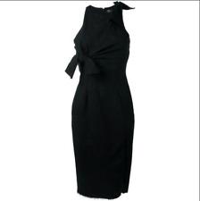 VERSACE £1500 2017 Black Bow Front Striped Slit Detail Dress *NWT* - UK 10