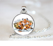 Fox Family PENDANT NECKLACE Chain Glass Tibet Silver Jewellery