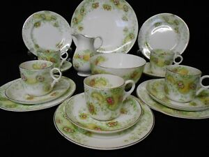 ANTIQUE VINTAGE CHINA TEA SET GREEN PINK HAND PAINTED SMALL FLORALS