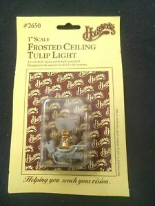 Houseworks FROSTED CEILING TULIP LIGHT Dollhouse Miniature with 12v Bulb Works!