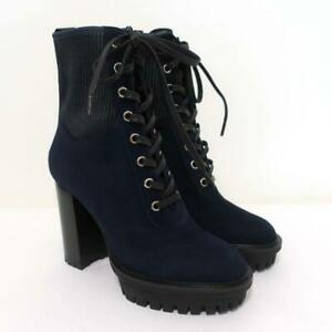 Gianvito Rossi Platform Ankle Boots Martis Navy Suede Size 36.5 Combat Boots NEW