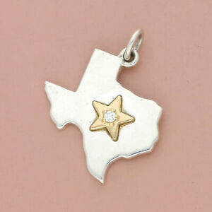 james avery sterling silver & 18k gold retired diamond star of texas charm
