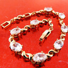 FSA638 GENUINE REAL 18K YELLOW G/F GOLD LADIES DIAMOND SIMULATED BRACELET BANGLE