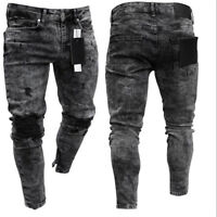 Mens Denim Skinny Ripped Jeans Pants Casual Stretch Soft Fashion Summer Trousers