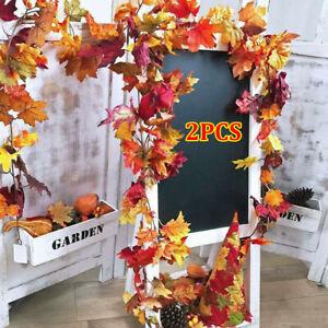 1/2PCS 1.7m Artificial Trailing Ivy Maple Autumn Leaves Garland Vine Home Decor