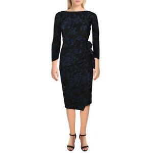 Chiara Boni Womens Navy Ruffled Printed Party Cocktail Dress 2 BHFO 5249