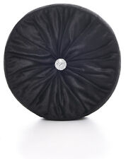 Chenille Black Round Cushions Luxury Diamante Centre Filled Scatter Cushion