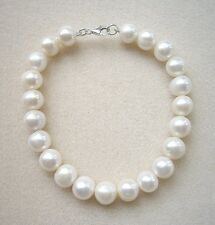 Genuine Cream Freshwater Pearl Bracelet - Silver Clasp - 8""