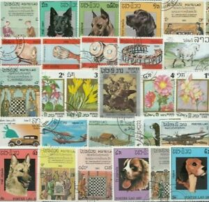 Laos 25 Different Stamps Collection Mixture Packet Stamps For Collectors