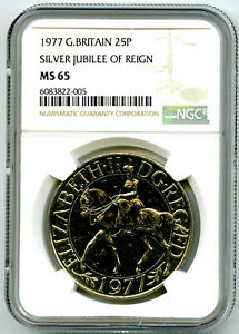 1977 GREAT BRITAIN 25P SILVER JUBILEE OF REIGN NGC MS65 UNCIRCULATED COIN