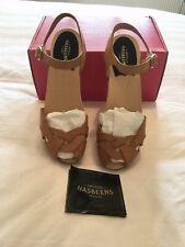 Swedish Hasbeens Tan Leather Tutti Frutti Debutant Sandals Size 38 UK 5 UNWORN