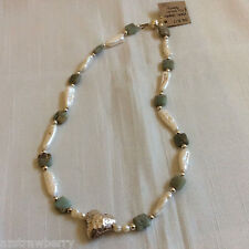 """Handcrafted silver tone metal Jasper & white keishi stick pearl necklace 19""""L"""