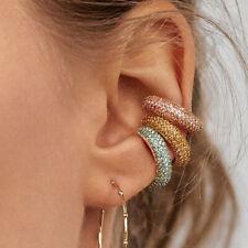 Fashion Bohemia Crystal Earrings Ear Cuff C Shaped Rhinestone Ear Clip Earring