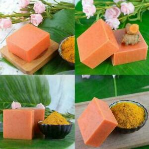 Turmeric Soap Herbal Natural Scrub Oil-Control Mite Removal Skin Soap Care T4D0