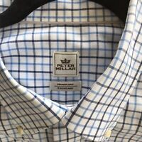 Peter Millar Mens 17 Neck 36 Sleeve Button-down Dress Shirt Blue/Wht/Brown Plaid