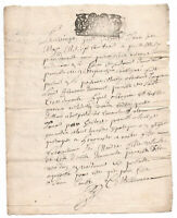 1703  KING LOUIS XIV Royal  Notary signed manuscript document ORIGINAL stamp