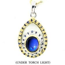 GENUINE Oval 9x7mm Hot Rainbow Black Opal,Sapphire 925 Silver Pendant ChainFree