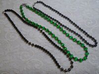 VINTAGE TO NOW ASSORTED GREEN & BLACK HEMATITE STONE BEADED BOHO NECKLACE LOT