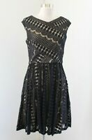 Betsey Johnson Black Tan Nude Lace Illusion Fit and Flare Dress Size 6 Cocktail