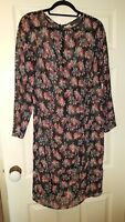 M&S Collection size M black floral chiffon dress