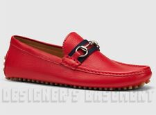GUCCI mens 11G* Red Pebbled DAMO Horsebit WEB Driving Moccasin shoes NIB Authent