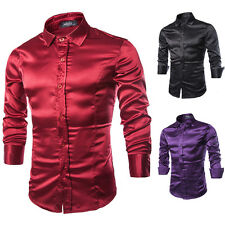 Luxury Men Glossy Shiny Slim Fit Long Sleeve Dance Party Dress Shirt Top T-Shirt